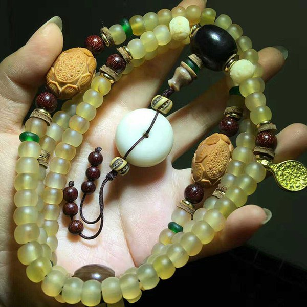 Wholesale Natural Sheep Claw Bracelets  With DIY Olive Lotus Hand String Lucky for Women Men Rosary Tibetan Style Bracelet