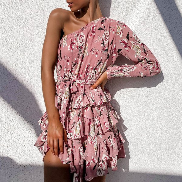 New Arrival 2019 Chiffon Dress Women Sexy One Shoulder Floral Beach Dress Bud Bandage Party Mini Sundress Fashion Robe Femme XL