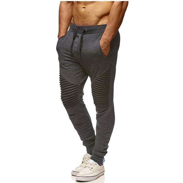 2018 mode herren marke hosen sommer männlich chino jogger biker hose twill slim fit fleece jogger hosen rippe manschette taille mit loch