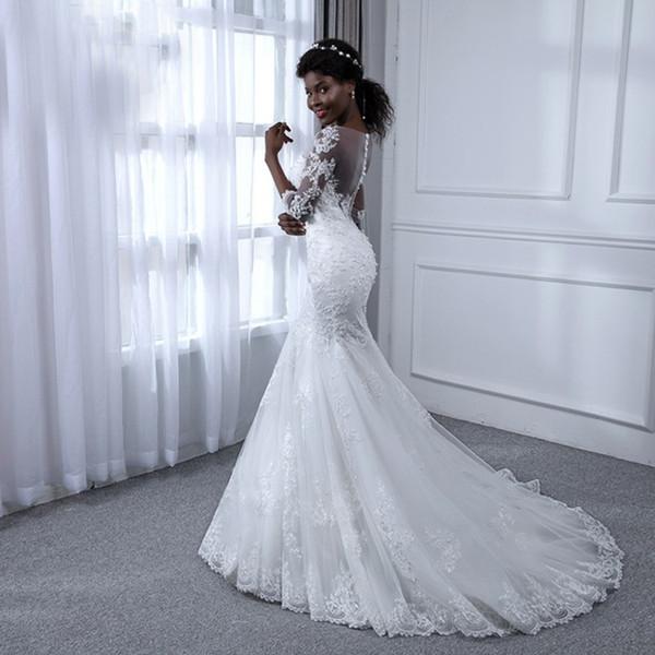 Elegante Brautkleider Mermaid Bride Dresses Kleine runde Hals Spitze Illusion zurück Reißverschluss Schwanz Kleider