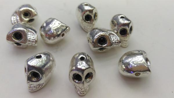 top popular 20pcs 9x13mm black etye -Skull brasss bead , skull head beads,paracord beads , Men Bracelet Charms 2021
