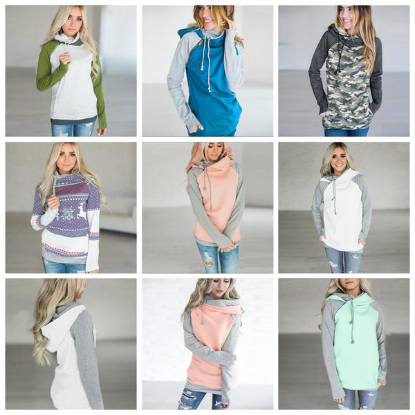 Side Zipper Hooded Hoodies Women Patchwork Sweatshirt 13 Colors Double Hood Pullover Casual Hooded Girls Tops 33pcs OA5359