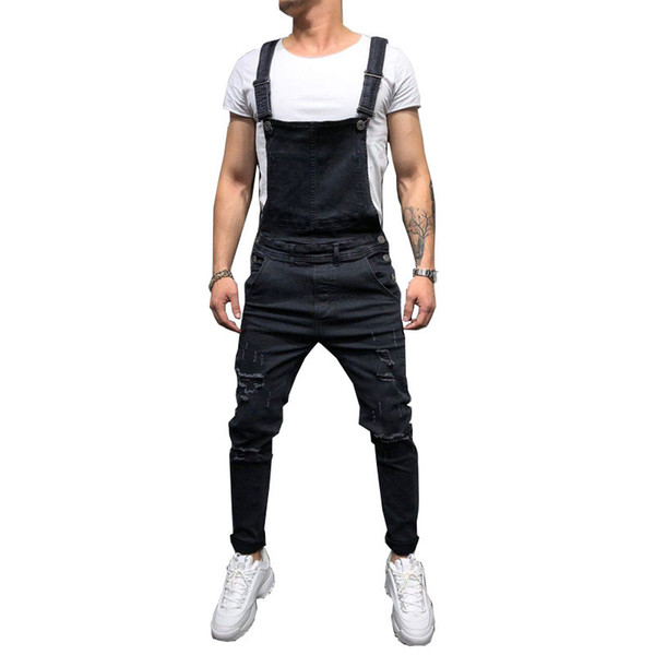 Fashion Men's Ripped Jeans Jumpsuits Hi Street Distressed Denim Bib Overalls For Man Suspender Pants Size S-xxxl C19040401