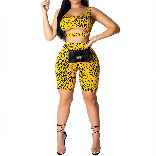 Tight-fitting sexy hips and two-piece leopard print set colors Women Tops Shorts Set 2 Pieces Women Tracksuit t shirts shorts