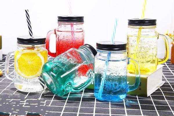 450ML Glass Cup storage bottle Jars Mason Jar Mug Beverage Mug With Lid Straw Juice Bottle With Handle