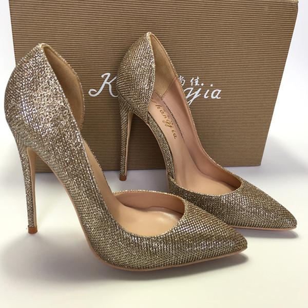 2019 бесплатная доставка мода женщины леди мульти золотой блеск блестками острым носом туфли на каблуках туфли на шпильках туфли на высоком каблуке насос 12 см 10 см