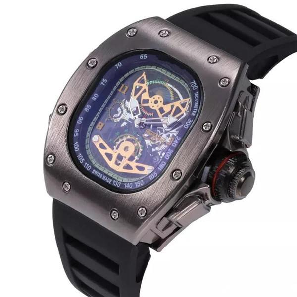 Hochwertige Herren Luxus Quarzuhr Silikon Ghost Head Skeleton Berühmte Marke Uhren Schädel Sport Quarz Hohl Uhren Uhr 11