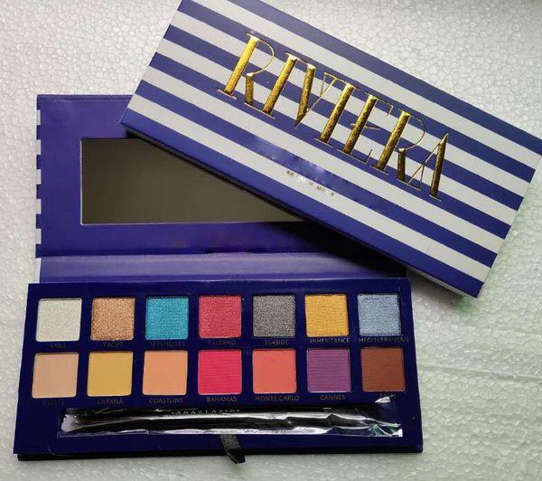 La marca más nueva 14 colores paleta de sombra de ojos RIVIERA sombra de ojos Shimmer mate belleza maquillaje paletas de sombra de ojos con pincel
