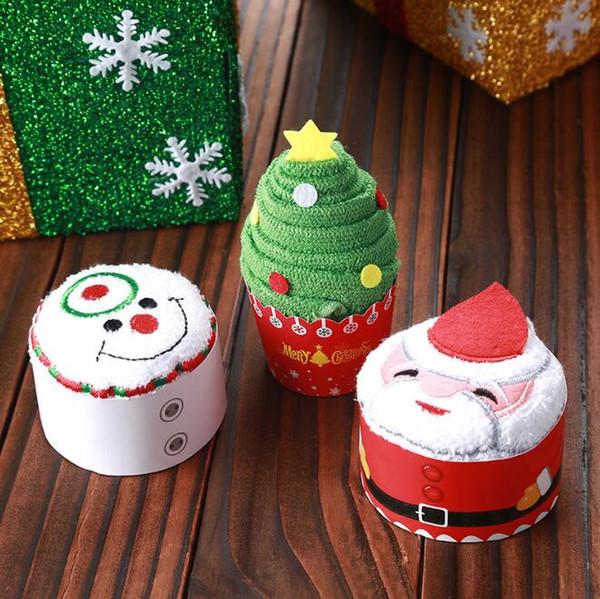 30 * 30CM Père Noël Bonhomme de neige Arbre de Noël Forme Serviette Belle Décoration De Noël Serviette Cadeau De Noël Faveurs De Mariage wang