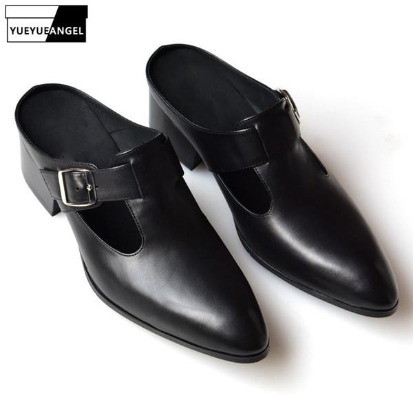 2019 New Mens Buckle Echtes Leder Hausschuhe Sommer Echtes Leder Spitz High Heels Sandalen Schwarz Blau Kleid Schuhe Qualität