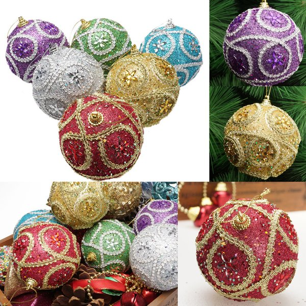 Merry Christmas Xmas tree decor Rhinestone Glitter Baubles Balls hanging Ornament winter decorations New year noel 2018 droship
