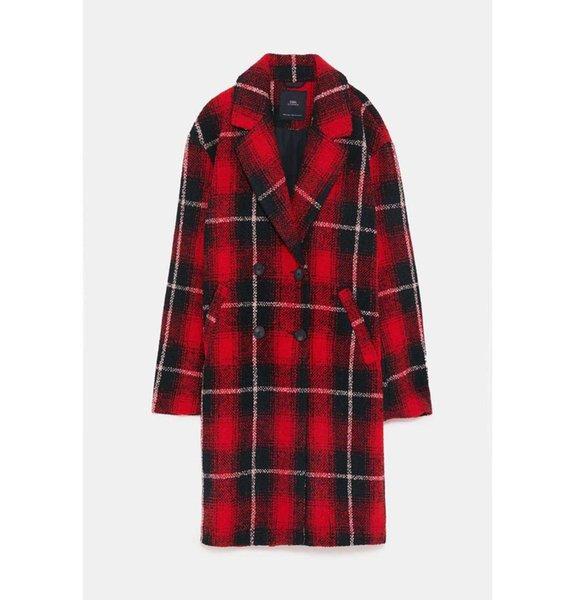 abrigo de la mujer rojo señora de la oficina 2019 otoño-invierno de la capa chicas tun-abajo la tela escocesa collar nuevo de la manera floja elegante female