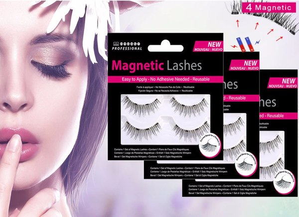 MB 2 Pairs Magnetic eyelashes with 4 magnets handmade 3D/6D magnetic lashes natural false eyelash magnet lash with gift box