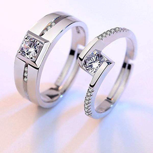 Kübik Zirkon Yüzük Açık Ayarlanabilir Gümüş Yüzük Nişan Alyans Çift Yüzük Erkek Kadın Kristal Moda Takı Olacak ve Sandy 080469