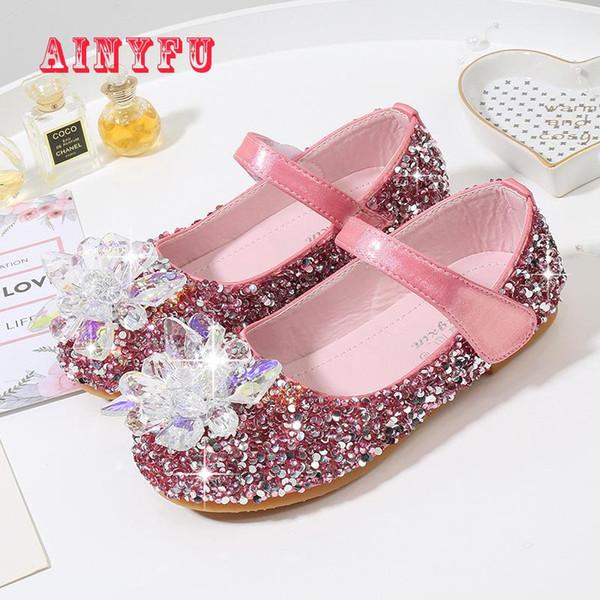 Yeni Prenses Kız Deri Ayakkabı Çocuklar Glitter Düğün Ayakkabı 2019 Kristal Çocuk infantil Chaussure B406