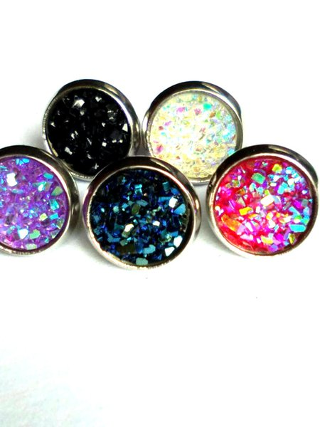 8mm 12mm Nice handmade resin round druzy earrings trendy simple stainless plated wholesaling resin stone earring for lady