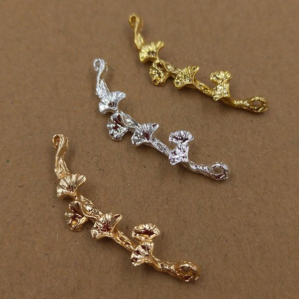 100pcs 41*10mm Fashion Gold Silver flower vine charms metal pendants Alloy DIY Jewelry Accessories Headwear Hair Jewelry Handicraft Material