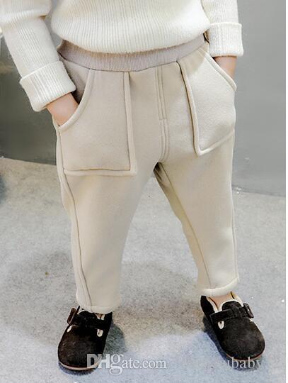 Pantalones de franela para niños Nuevo vestido para niños en otoño e invierno 2018Baitao para niños y niñas y niñas