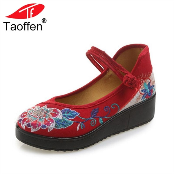 Designer Dress Shoes TAOFFEN Women Pumps Wedges Platform Embroider Round Toe Daily Vintage Party Wedding Footwear Size 35-40
