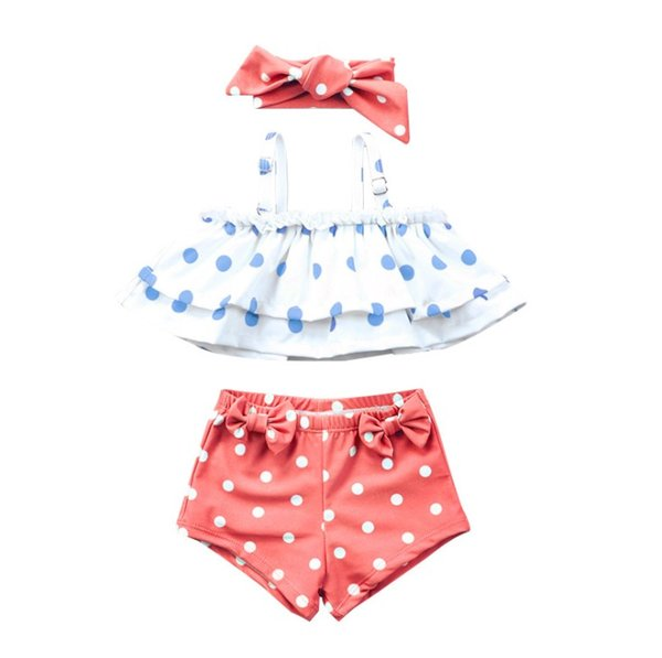 Top quality baby girls swim suit headband+ruffle bikini+shorts trunks 3pcs set princess girl beach clothes dots bow girl bathing suit