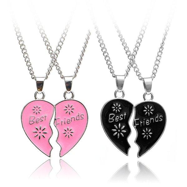 ewelry & Accessories Fashion Best Friends Honey Love Couple Pendant Necklace 2 Pcs/ Set Rainbow Broken Heart BFF Good Friends Friendship ...