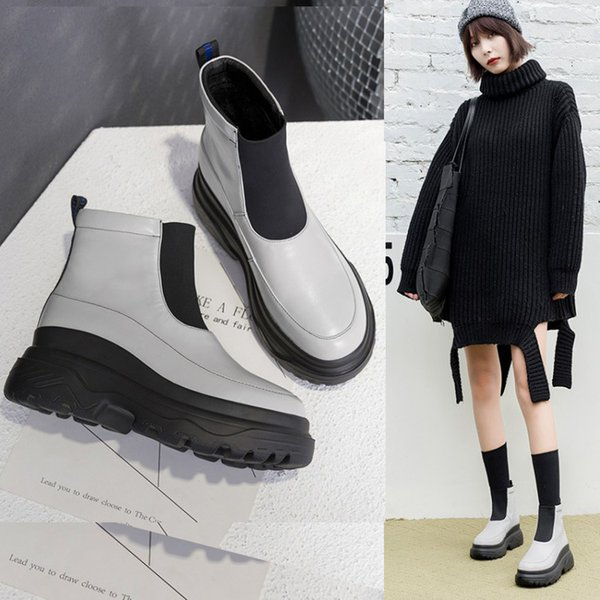 LASPERAL Kadın Rain Boots su geçirmez ayakkabı Kadın Su Ayakkabı Lastik Lace Up PVC Martin Boots Dikiş Katı Moda çizmelere