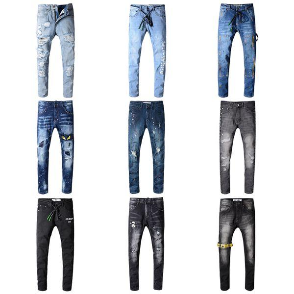 Marca OFF Jeans Kanye West Graffiti Pantalones Junta rasgada Slim Jean Pocket Discoteca Agujeros Hombres Jeans largos ocasionales Tamaño 28-42