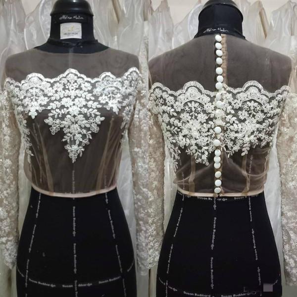 White Ivory 2019 Lace Bridal Jackets Boleros Long Sleeve Buttons Wedding Bride Wraps Shrug Custom Plus Size
