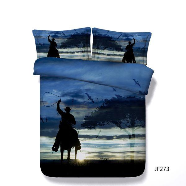Western Cowboy Duvet Cover Set Galloping Horse Bird 3 Piece Bedding Set With 2 Pillow Shams Green Blue Orange Black Bed Set No Comforter