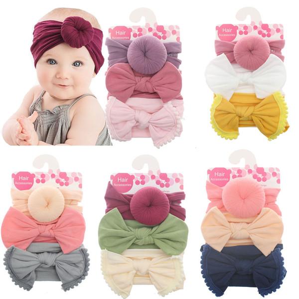 Baby Girls Knot Ball Donut Headbands Bow Turban 3pcs/set Infant Elastic Hairbands Children Knot Headwear kids Hair Accessories C5762