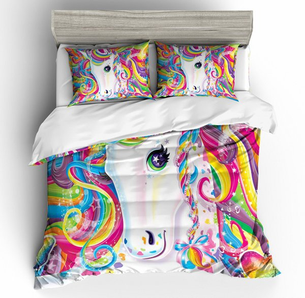 3D Cartoon Bedding Sets Colorful Floral Unicorn Duvet quilt Cover with Pillowcase Luxury Bed clothes Twin Full Queen Super king Size 3Pcs