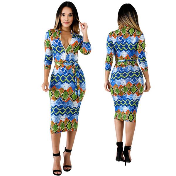 Compre 2019 Primavera Nuevos Modelos De Moda Europeos Y Americanos De Mujer Impresión Digital Sexy Vestido Transfronterizo A 162 Del Zhanghui97