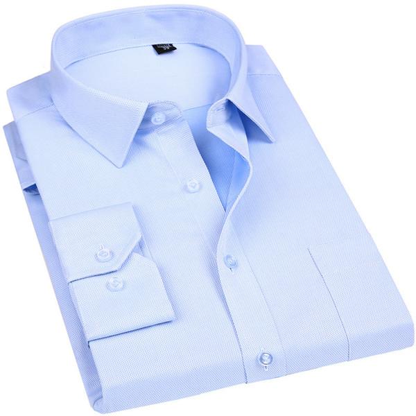 Высокое качество без глажения мужчины платье с длинным рукавом рубашки 100% хлопок 2019 новый твердый мужской одежды подходят бизнес-рубашки белый синий Y190506