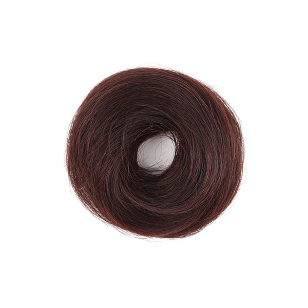 Fashion Solid Color Popular Temperament Real Hair Half-ball Head Fluffy Natural Hair Ring Elastic Adjustable Hair Extension
