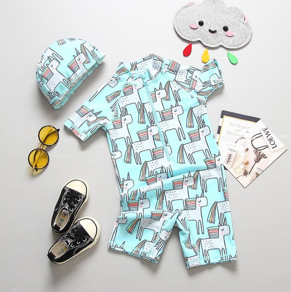 2019 Summer new kids unicorn swimsuits girls rainbow horse printed one-piece swimming with hat children cartoon beach swimwear F6488