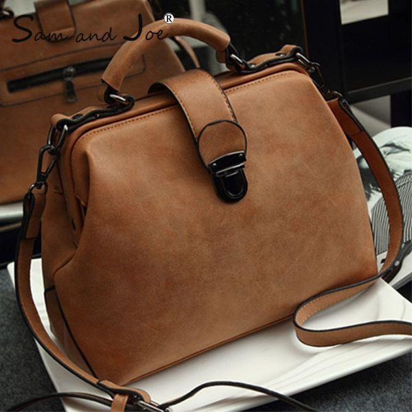 2019 New Retro Doctor Bag Fashion Large Capacity Messenger Bag Ladies Shoulder Bag Scrub Leather Leather Handbag Two New Style Y19061705