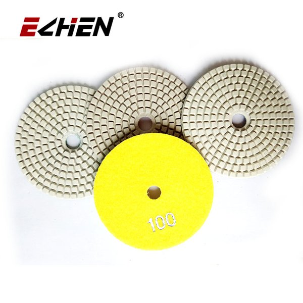 top popular 4 inch Square Shape White Granite Diamond Polishing Pad For Wet Angle Grinder Sanding Disc Hook and Loop Backed 2020