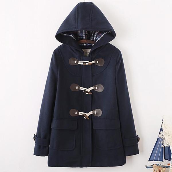 Cappotto in lana con bottoni in corno in stile giapponese per ragazze del college autunnale Cappotto in misto lana con cappuccio lungo e sottile in lana calda