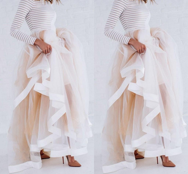 New Design Tulle Maxi Skirt with Satin Ribbon Edge Champagne Ruffled Stylish Skirts for Women Sexy Woman Long Winter cocktail Skirts