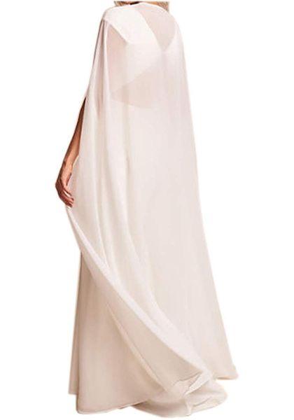 Shine Cloak for Women White Long Bridal Wraps Wedding Cape Chiffon Party Scarves