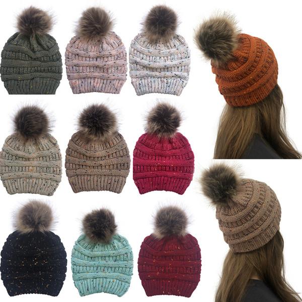 Moda mujer confeti gorro de punto invierno cálido pompón colorido sombrero señora cráneo gorro sólido hembra exterior gorras TTA1509