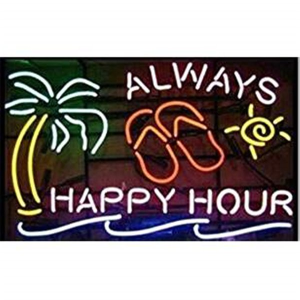 New Star Neon Sign Factory 24X20 Inches Real Glass Neon Sign Light for Beer Bar Pub Garage Room Always Happy Hour Palm Tree.