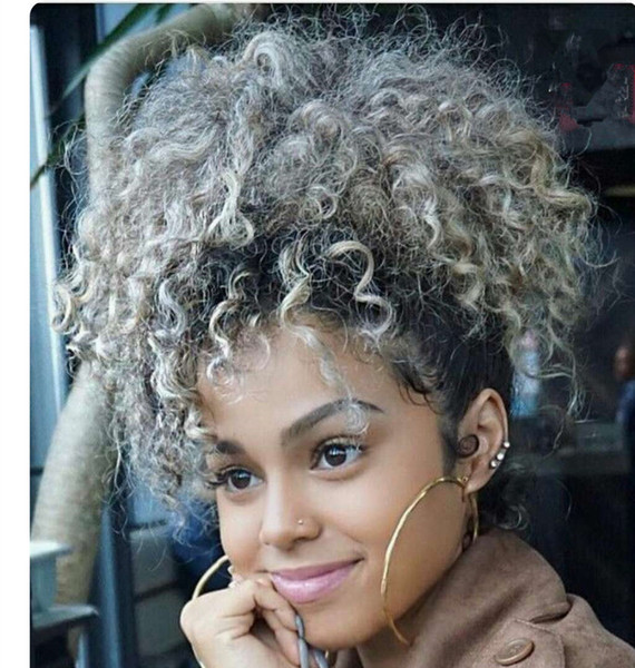 Grey Hair Drawstring Ponytail Kinky Curly Afro Clip On Updo Chignon Bun Hair Piece Extensions For African American Women Medium Size Gray Hair