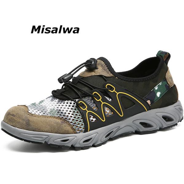 Misalwa Chaussures d'eau pour hommes Mesh Patchwork Été Cool Sandales Plage Sneaker Slip-on Léger Casual Hikin Chaussures Drop Ship