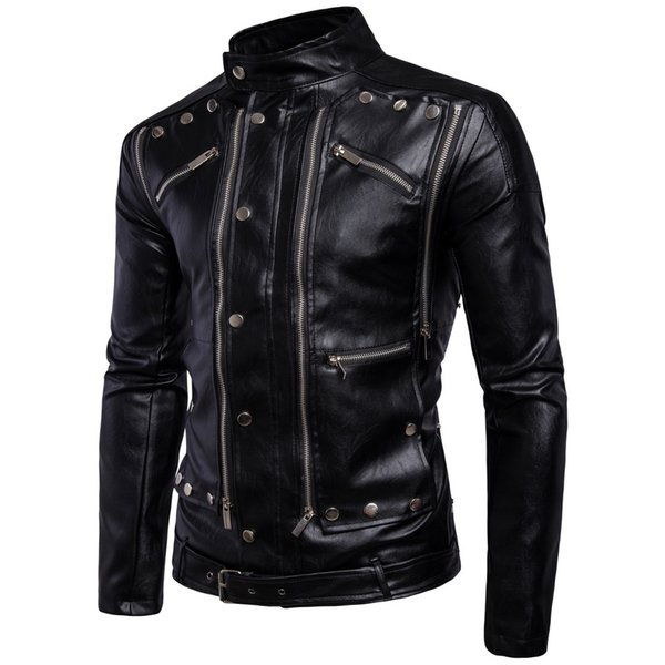 hot sales wholesale price release date: Fashion Warm Winter Black Men'S Outerwear Long Sleeve Coats Multi Zipper  Cool PU Leather Jackets For Men Men In Coat Cool Coats For Guys From ...