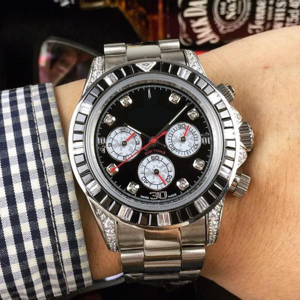 6 pins lüks erkek tasarımcı saatler renkli elmas çerçeve safir otomatik Mekanik Saatı Montre de luxe