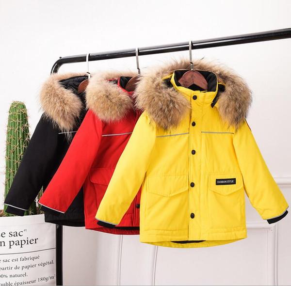 best selling Down jacket children's wear thickening coat Real fur fur collar hat boys girls white duck down coat warm down jacket