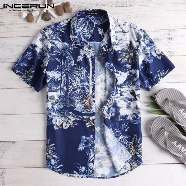 INCERUN 2019 Casual Print Brand Shirt Men Short Sleeve Button Tops Loose Camisa Masculina Fashion Men Beach Hawaiian Shirt S-5XL