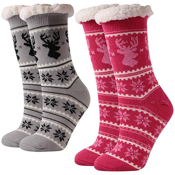 Calcetines de invierno de Navidad Antideslizante Piel suave y cálida Cama de invierno Inicio Antideslizante Calcetines de piso Zapatillas LJJK1859