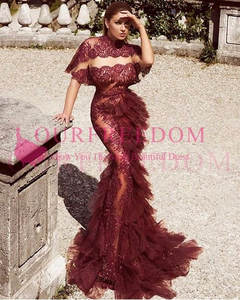 Dark Red Sheer Prom Dresses 2019 High Neck Mermaid See Through Ruffle Fold Cascading Sequin Evening Gowns